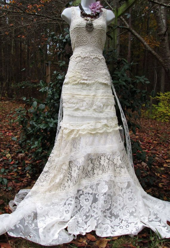 Cream wedding dress antique crochet lace rose mermaid for Antique rose wedding dress