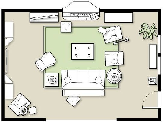 Furniture placement in a large room for Small media room furniture layout