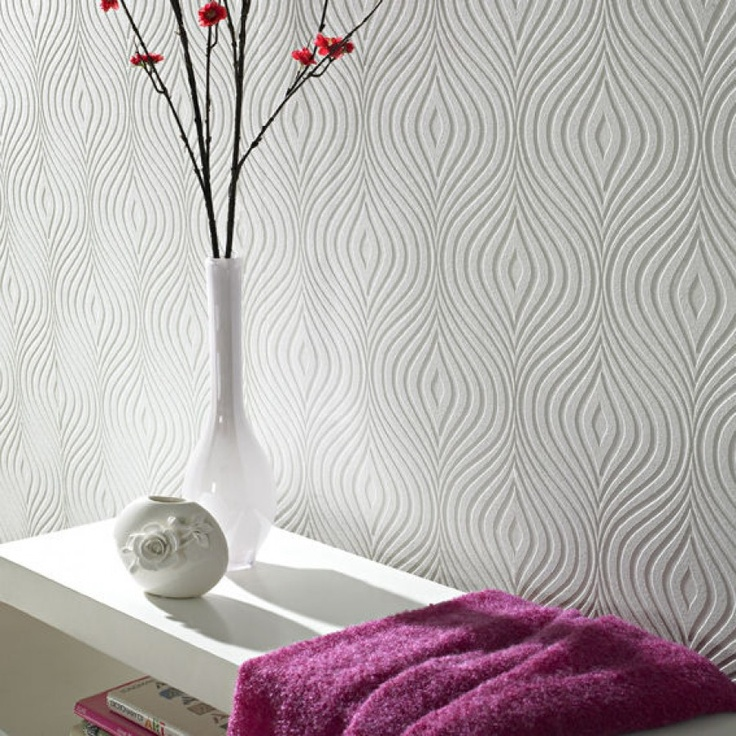 Graham & Brown Paintable Curvy Wallpaper in White   17583