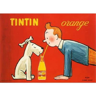 Tintin Orange (1980) vintage poster by Raymond Savignac