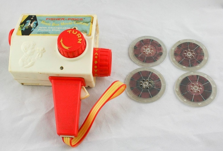 Vintage Plastic Fisher Price Toy Music box Movie Camera Projector 4 Reels k3y8