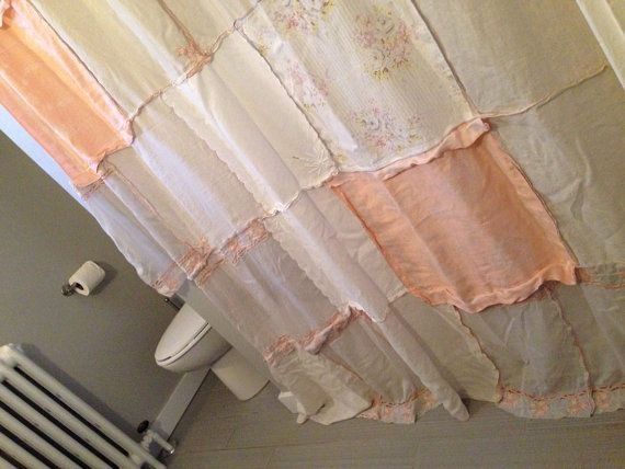 Pale Grey And Peach Shabby Chic Patchwork Shower Curtain Made Of Vint