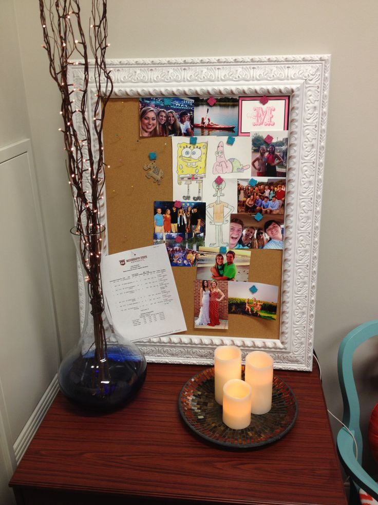 MSU dorm room Memo board and lighted branches and candles  ~ 083908_Dope Dorm Room Ideas