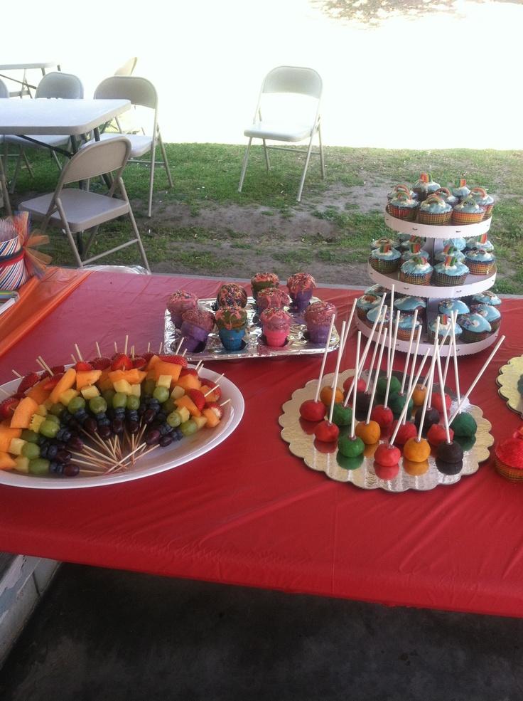 Rainbow fruit kabobs! Rainbow cake pops! Rainbow ice cream cone ...