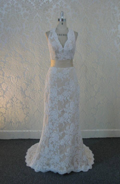 French Lace Wedding Dress With Keyhole Back V Neckline And Sash