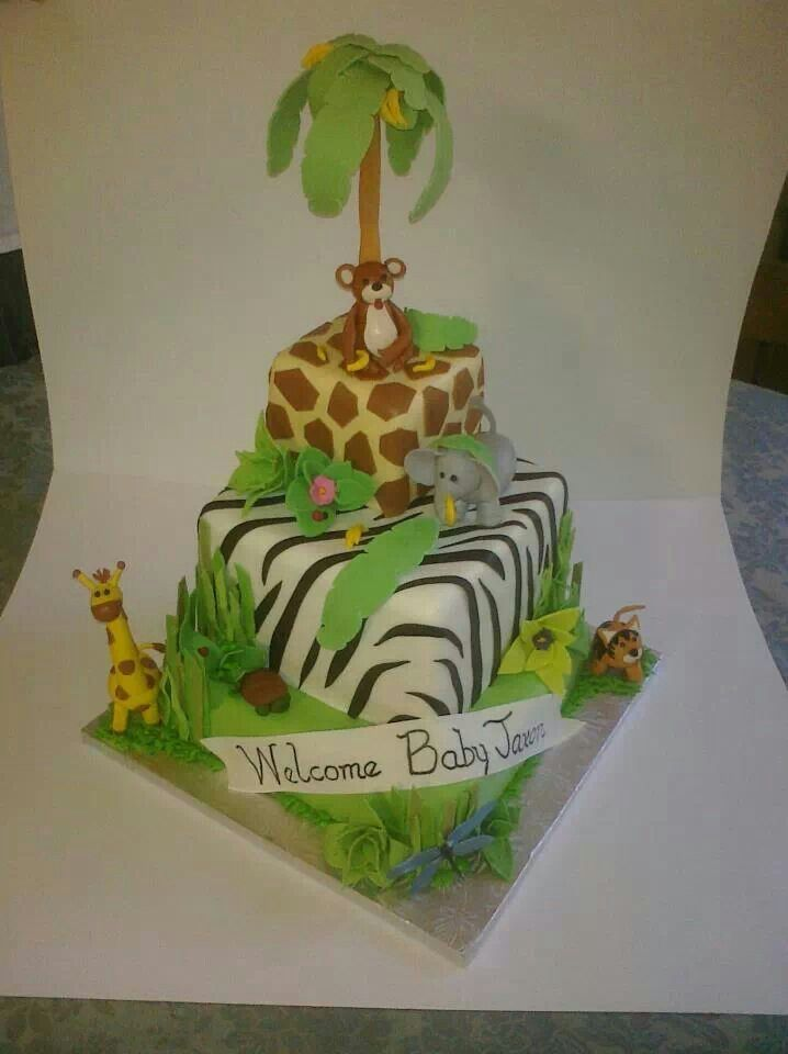 Cake Decoration Zoo : Baby Shower Cakes: Zoo Themed Baby Shower Cakes