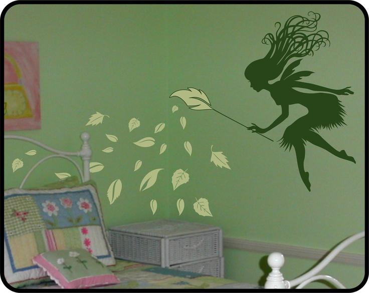 Fairy wall decal w leaf branch wand fun girls nursery for Fairy mural ideas