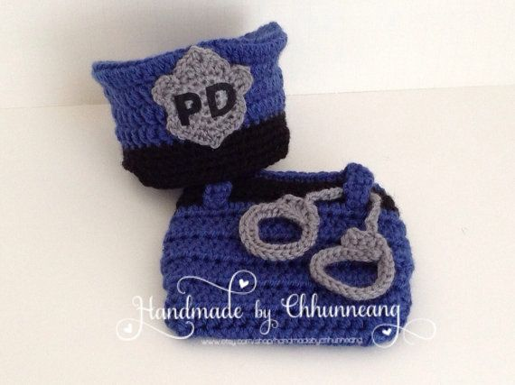 Crochet Baby Police Man Hat and Diaper Cover Set with ...