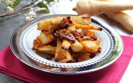 Meltingly good British cheddar tossed with crispy parsnips and bacon.