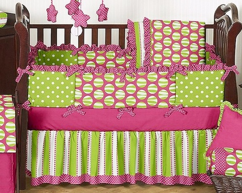 Just in case quot one day hot pink and lime green lulu baby bedding
