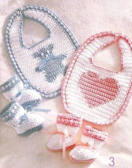 Crochet Baby Bibs Booties Sets - New Pattern Booklet