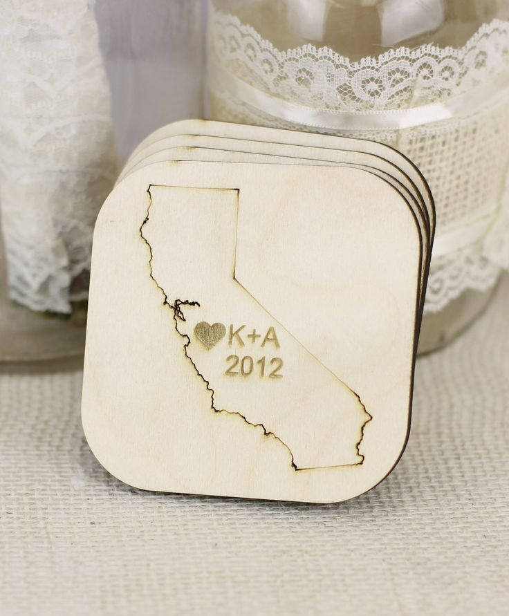 Personalized rustic wedding favors state coasters set of 10