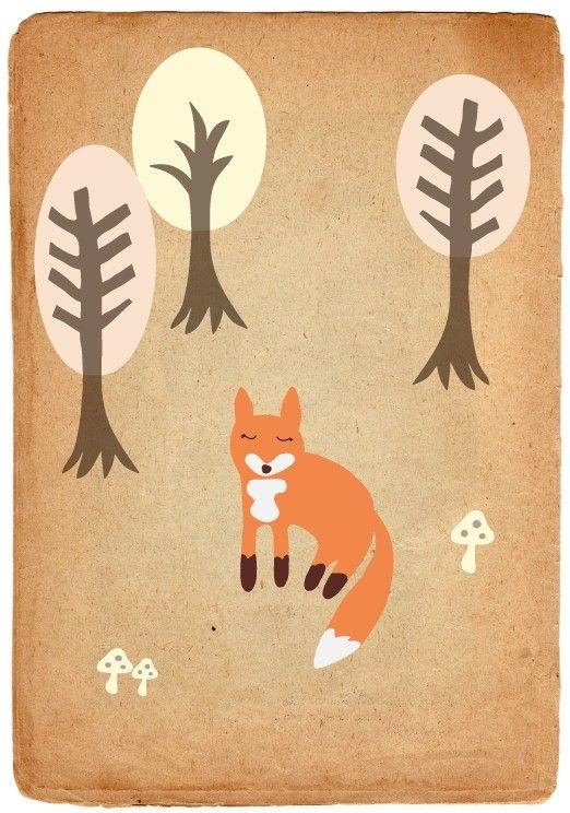 The Shy Fox Print by juxtaposeddesign