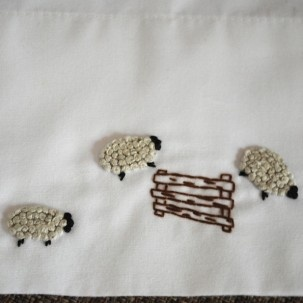 How to embroider French Knot Sheep
