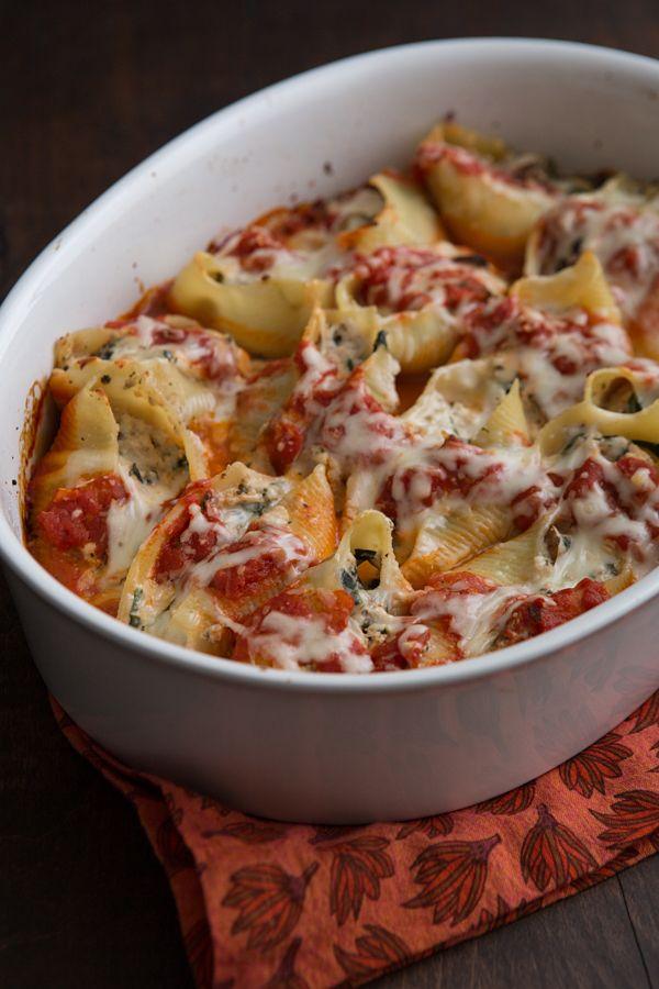Cremini and Chard Stuffed Shells Recipe ~ Vegetarian stuffed shells ...