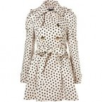 White & Black Polka Dot Long Trench Coat