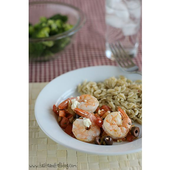 Baked- Shrimp with Tomatoes and Feta | www.tasteandtellblog.com