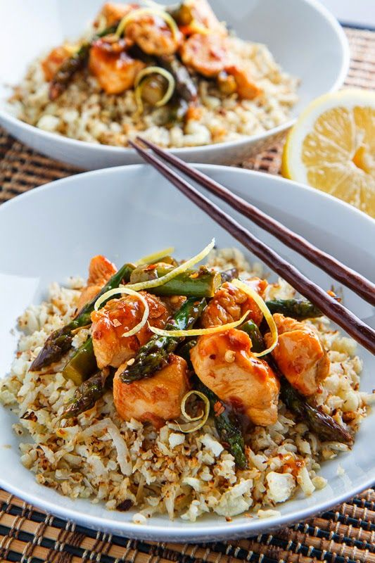 Honey Lemon Chicken and Asparagus Stir Fry with cauliflower rice 330 ...