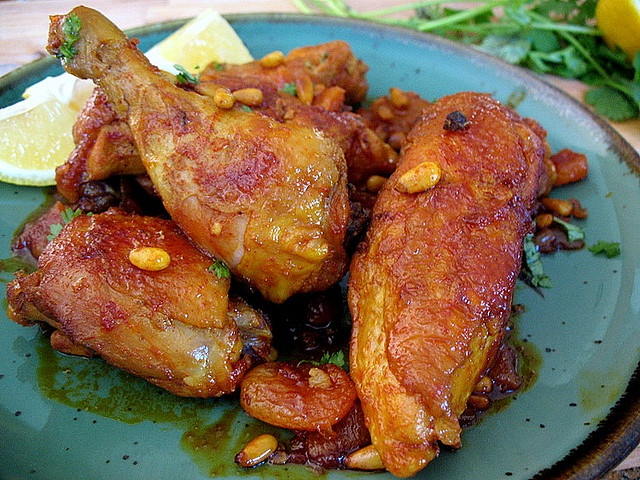 Algerian Chicken Tagine With Apricots And Spiced Pine Nuts