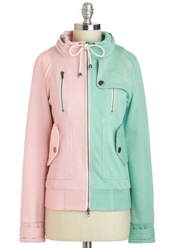 Leipzig Hoodie in Mint and Pink - 2, Multi, Pink, Mint, Solid, Pockets