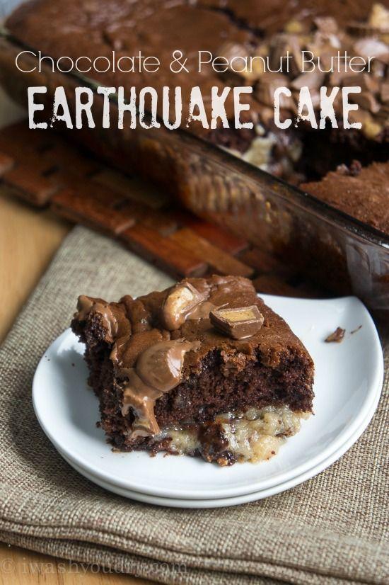Chocolate Peanut Butter Earthquake Cake + Giveaway - I Wash You Dry