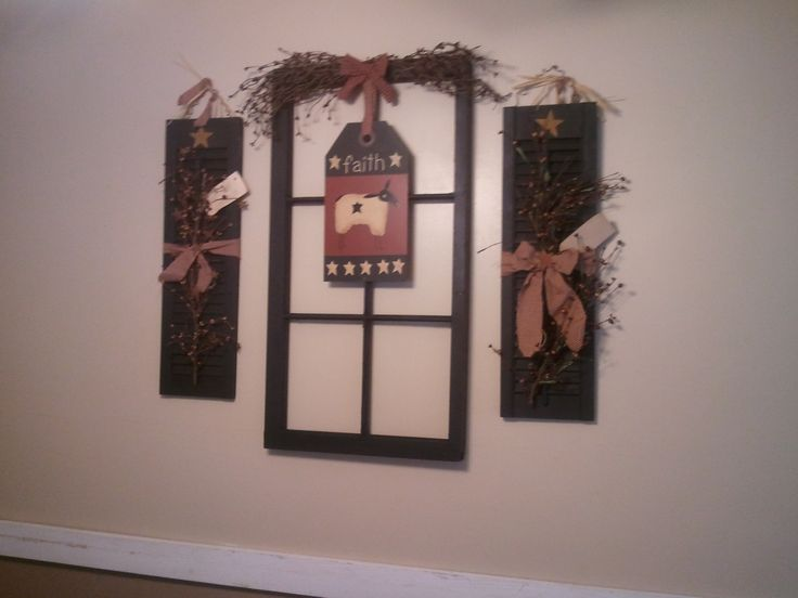 Old window frame shutters wall art home pinterest for Using old windows as wall decor