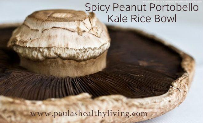 Spicy Peanut Portobello Kale Rice Bowl with Cilantro #food#kale