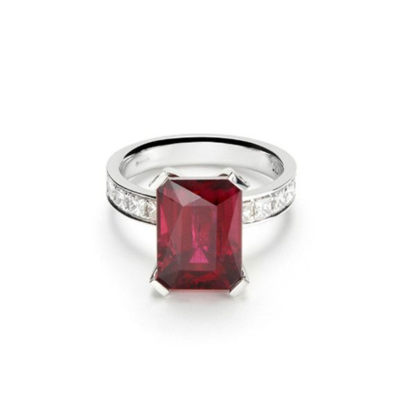 emerald cut ruby ring with diamond arms Jewelry
