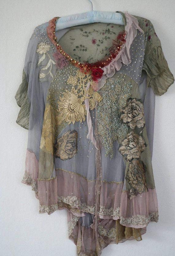 Цветок дуэт романтической вышитые блузки текстильной по FleurBonheur