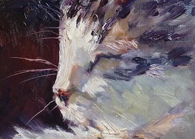 'Sweet Dreams' Cat oil painting by Karen Margulis