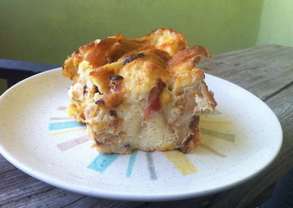 Savory Bread Pudding Recipe - leeks, gruyere cheese and bacon give ...