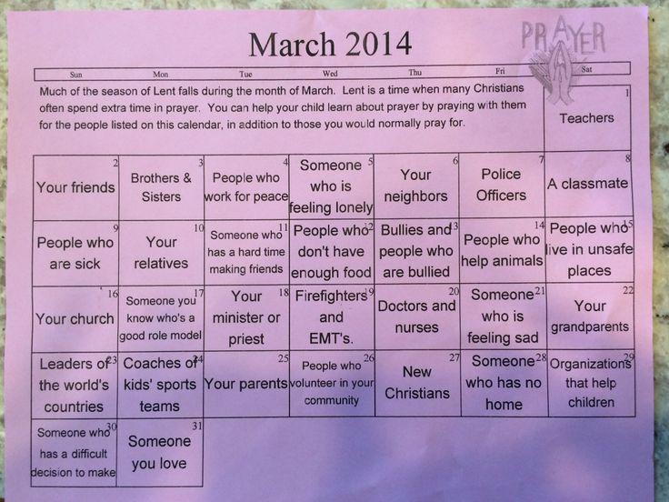 Prayer Calendar for Lent | Easter | Pinterest