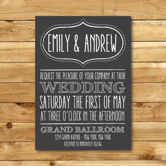 Printable Chalk Wedding Invitation Template