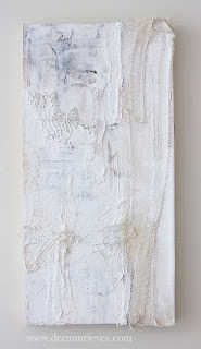 """Still Unraveling ; mixed media and machine embroidery on paper and wood panel ;12"""" X 20"""" #art #deeannrieves www.deeannrieves.com"""