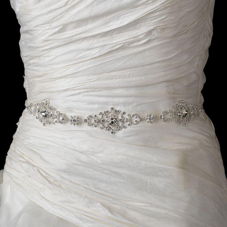 dazzling rhinestone wedding dress belt with ribbon