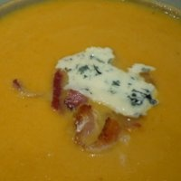 Soup of the Week: Pumpkin Soup with Bacon and Blue Cheese""