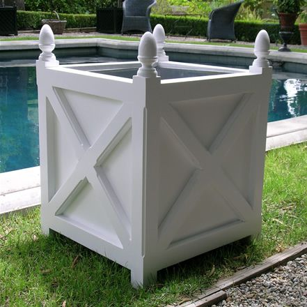 Picture of 20 quot wooden planter in white with cross pattern