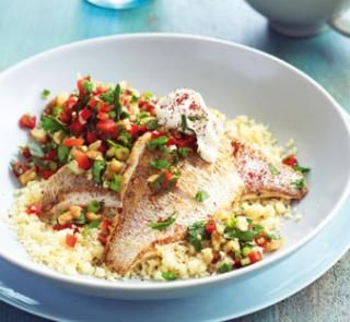 Grilled snapper With mint, parsley and walnut salad - healthy food ...