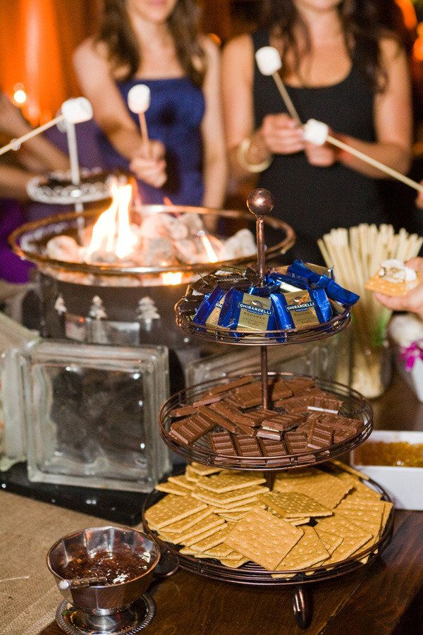 S'mores buffet. Food and beverage wedding ideas.