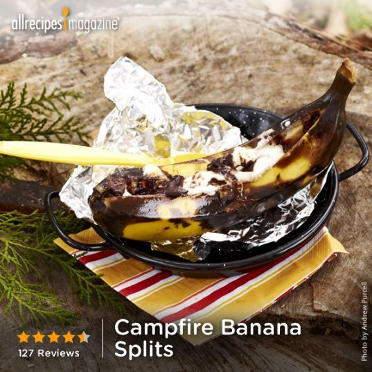 Campfire Banana Splits | While it may not be pretty on the outside ...