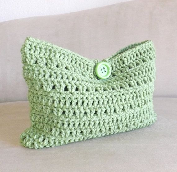 Crochet Mini Bag : Crochet green lettuce make up bag, crochet cosmetic bag, crochet mini ...