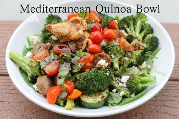 Mediterranean Quinoa Bowl (Salad) - recipe calls for chicken sausage ...