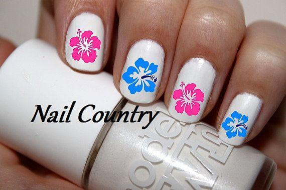 Hawaiian Flower Nail Designs Hawaiian Flower Nail Art