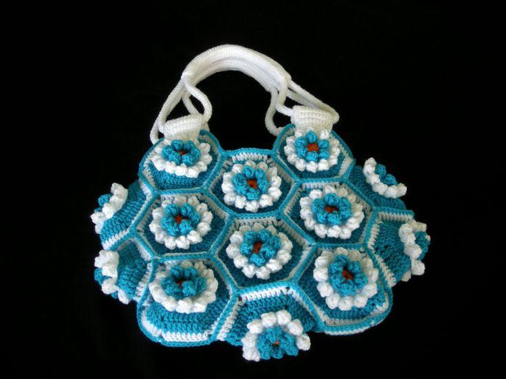 Crochet-Lily-Hexagon-Bag Crochet - Bags Pinterest