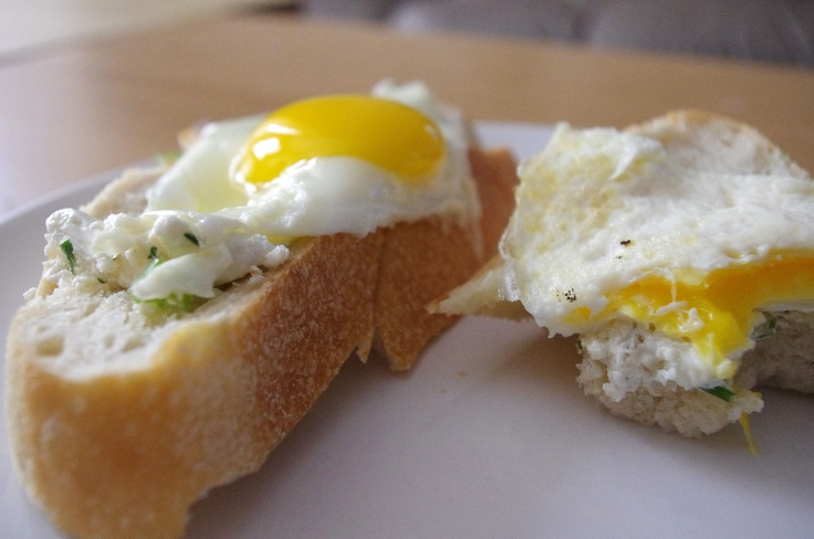 Best egg sandwich ever. Tuscan bread, egg and herb goat cheese