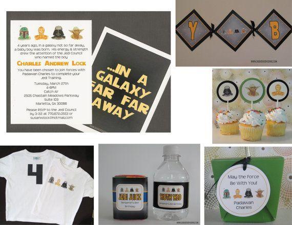 star wars birthday baby shower invitation multiple styles full