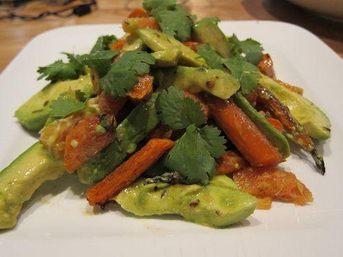 Vegan Roasted Carrot, Avocado, and Orange Salad