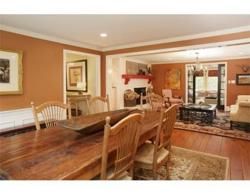 Dining room with cream wainscoting and burnt orange walls for Burnt orange dining room