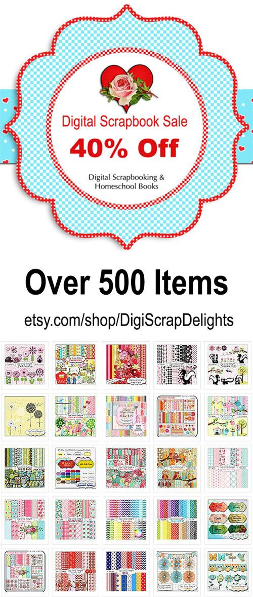 40% Off Storewide. Digital Scrapbook Kits, Clip Art, Project Life Cards