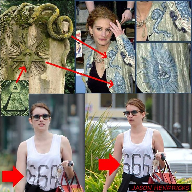 Julia roberts shown wearing satanic clothing with all seeing eye